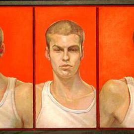 Judith Fritchman: 'Triptych of Will', 2001 Oil Painting, Portrait. Artist Description: Will, a young art student, could present a kalaidescope of emotions as he posed, which prompted the triptych format....