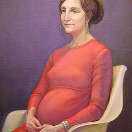 Judith Fritchman: 'Waiting', 2006 Oil Painting, Portrait. Artist Description: The model was happily anticipating the birth of her first child....