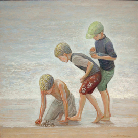 Judith Fritchman: 'crab patrol', 2018 Oil Painting, Figurative. Artist Description: Three young cousins make a happy discovery at the beach. ...