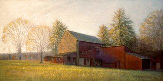 Judith Fritchman: 'end of day october', 2018 Oil Painting, Landscape. An October sunset illuminates a Bucks County barn. ...
