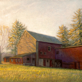 Judith Fritchman: 'end of day october', 2018 Oil Painting, Landscape. Artist Description: An October sunset illuminates a Bucks County barn. ...
