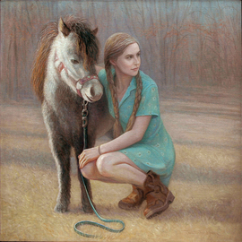 Judith Fritchman: 'homecoming', 2016 Oil Painting, Figurative. Artist Description: A young college girl is reunited with her childhood friend. ...