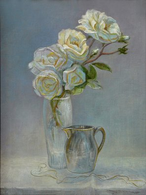 Judith Fritchman: 'silver and gold', 2015 Oil Painting, Still Life. A study of white roses and silver. ...