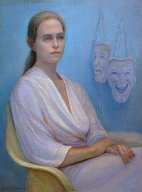 Judith Fritchman: 'thespian dreams', 1997 Oil Painting, Portrait. A young theater director dreams of her next play. ...