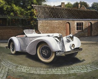 John Gamache: '1929 Duesenburg Model A Boatail Speedster', 2016 Oil Painting, Automotive.  1926 Duesenburg Model A Boatail Speedster - parked in a French a brick courtyard - Brick garages - estate - color white as sun goes down ...