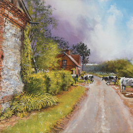 John Gamache: 'Entree dans d orage entrant Sous Marquese', 2016 Oil Painting, Landscape. Artist Description:  Oil on Linen 12 x 24 - Old country farm with stone barn in FR - storm coming - cows heading for shelter in the barn - dirt road - very provincial ...