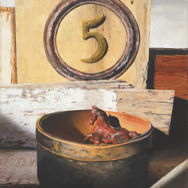 John Gamache: 'Pony Rides 5 Cents', 2016 Oil Painting, Still Life. Artist Description: Oil on Linen - 16 x 20 late afternoon light- Antique painted wood - old tin metal stove pipe ring - brass5 - Shaker round wooden box - antique red metal horse framed...