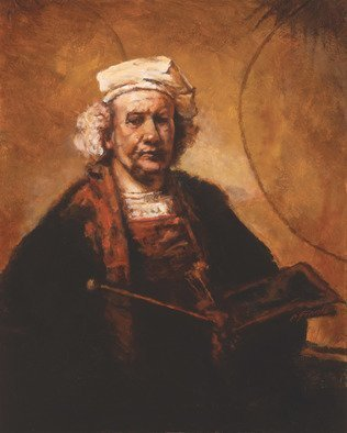 John Gamache: 'Rembrandt my mentor of light  by John Gamache', 2017 Oil Painting, Representational. Copy of Rembrandt self portrait Frame Antique gold speckle 5width...