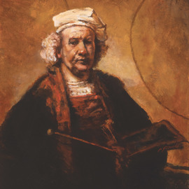 John Gamache: 'Rembrandt my mentor of light  by John Gamache', 2017 Oil Painting, Representational. Artist Description: Copy of Rembrandt self portrait Frame Antique gold speckle 5width...