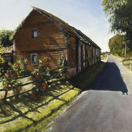 John Gamache: 'Rue de l Eglise Chauvincourt Provemont FR', 2016 Oil Painting, Landscape. Artist Description:  Oil on Linen 12 x 24 Old brick barn - Split wood rail fence - flower garden - late afternoon sun - Provincial setting ...