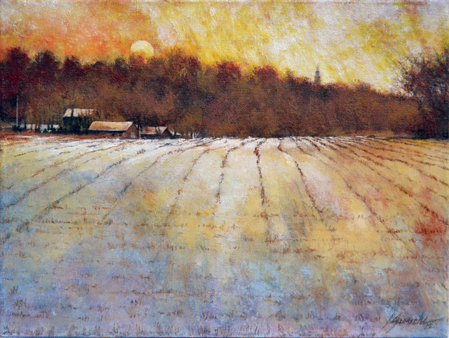 John Gamache  'Snowy Fields Mustard Skies', created in 2013, Original Giclee Reproduction.