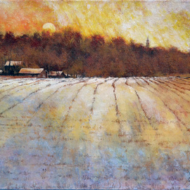 Snowy Fields Mustard Skies By John Gamache