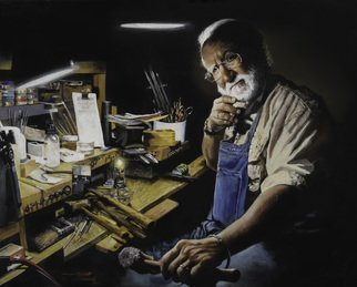 John Gamache: 'joel bagnal the goldsmith', 2017 Oil Painting, Portrait. Artist Description: Goldsmith - creating custom piece for customer - in gallery workshop overnight - commission...