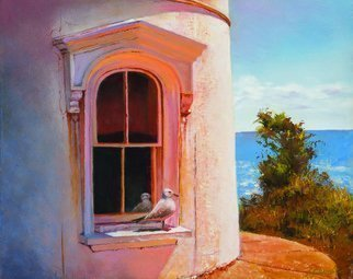 John Gamache: 'the lighthouse guard', 2017 Oil Painting, Representational. Light house Falmouth Cape Cod - Seagull - Window...