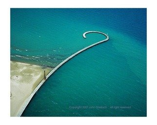 John Griebsch: 'Curved Break Wall, Chicago, Illinois, USA', 2008 Color Photograph, Abstract Landscape. Artist Description:  Aerial Photograph ...