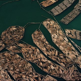 John Griebsch: 'log rafts 12 port of tacoma', 2007 Color Photograph, Landscape. Aerial Photograph    Archival Print number 1 of an edition of 25...