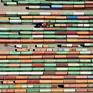 John Griebsch: 'trailers port of tacoma 254', 2011 Color Photograph, Landscape. Aerial Photograph     Archival print  number 4 of an edition of 25...