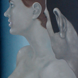 James Gwynne: 'Artist and Model', 1992 Oil Painting, Nudes. Artist Description: The artist looks at his model...