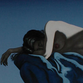 James Gwynne: 'Asleep', 1996 Oil Painting, Nudes. Artist Description: Upper torso of a sleeping nude on a blue drape spotlighted for dramatic contrast....