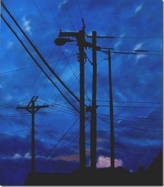 James Gwynne: 'Dusk Silhouettes', 2012 Oil Painting, Landscape.  Blue late evening sky with telephone poles and wires silhouetted ...