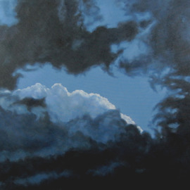 James Gwynne: 'Ending Storm', 2010 Oil Painting, Landscape. Artist Description:  Dramatic sky with dark clouds parting to show white clouds and blue sky ...