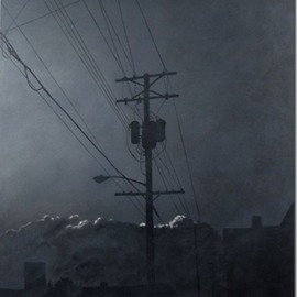 James Gwynne: 'Evening Fog with Telephone Pole', 2012 Oil Painting, Landscape. Artist Description:  Foggy grey conditions with silhouettes of telephone pole and roof tops and highlighted background clouds      ...