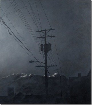 James Gwynne: 'Evening Fog with Telephone Pole', 2012 Oil Painting, Landscape.  Foggy grey conditions with silhouettes of telephone pole and roof tops and highlighted background clouds ...