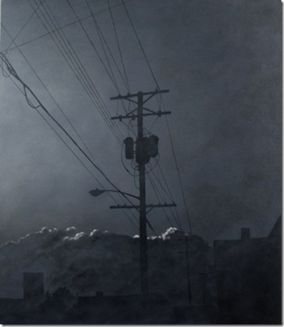 Artist James Gwynne. 'Evening Fog With Telephone Pole' Artwork Image, Created in 2012, Original Drawing Pencil. #art #artist