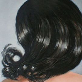 James Gwynne: 'Hair', 2002 Oil Painting, Nudes. Artist Description:     Hair, back view, larger than life              ...