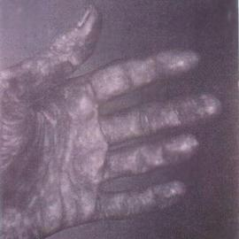 James Gwynne: 'Hand', 1990 Oil Painting, Figurative. Artist Description: Dramatic grey hand ...