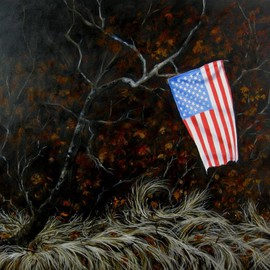 James Gwynne: 'Landscape with Flag II', 2012 Oil Painting, Landscape. Artist Description:    A flag that a patriotic someone tied to a branch in the woods among dried grass and leaves         ...
