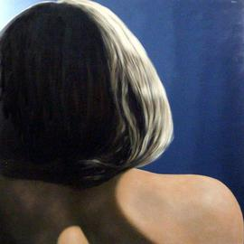 James Gwynne: 'Model Fragment', 2005 Oil Painting, Figurative. Artist Description:  Large cropped image showing a back view of model' s hair, back, and shoulder with dramatic lighting....