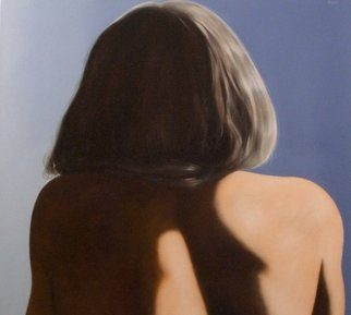 James Gwynne: 'Model back view', 2009 Oil Painting, nudes. Sunlit view of models hair and back ...