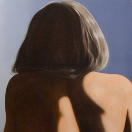 James Gwynne: 'Model back view', 2009 Oil Painting, nudes. Artist Description: Sunlit view of models hair and back ...