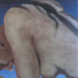 James Gwynne: 'Nude Crouching ', 1992 Oil Painting, Nudes. Artist Description: Cropped nude in a crouched position...