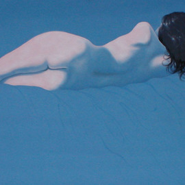 James Gwynne: 'Reclining Nude', 1988 Oil Painting, Nudes. Artist Description: Reclining model in simplified blue setting...