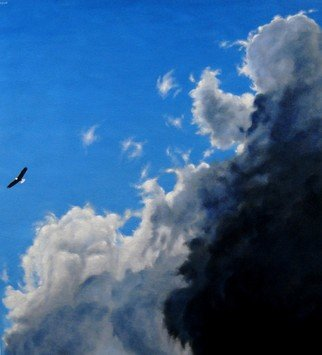 James Gwynne: 'Soaring', 2012 Oil Painting, Birds.  Bald Eagle soaring high among clouds ...