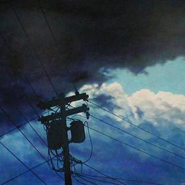 Stormy Sky with Telephone Pole