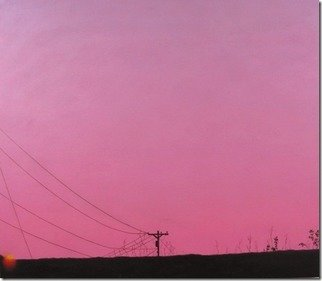 James Gwynne: 'Sunset and Telephone Pole', 2012 Oil Painting, Landscape. Sunset pink sky with distant silhouette of a telephone pole and wires. ...