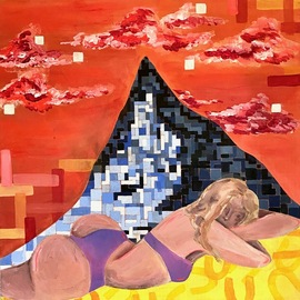 Jacqualyn Hult: 'girl and mountain', 2020 Acrylic Painting, People. Artist Description: I expressed ideas of the digital world through a pixelated mountain, a posed female figure, and explored the themes of online personas of social media. ...