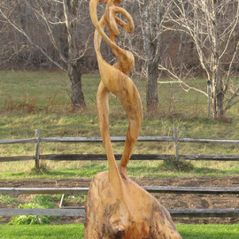 John Clarke Artwork Double Helix, 2008 Wood Sculpture, Abstract Figurative