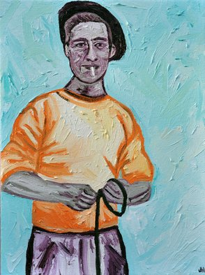 Jaime Hesper: 'Bretagne Fisherman', 2012 Oil Painting, Expressionism.   portrait, expressionist, bold, colorful, french, brittany, inspired by vintage photo, color, bretagne, thick paint, lavender, aqua, orange, turquoise, cigarette   ...