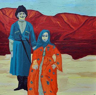 Jaime Hesper: 'Dzhigit Family', 2012 Oil Painting, Expressionism.  Dagestan,  portrait of rural couple, expressionist, bold, colorful, Central Asian, Former soviet union,  inspired by vintage photo, color,  history, reds, turquoise prominent colors. Part of a set with The Boss of Bukhara listed here.         ...