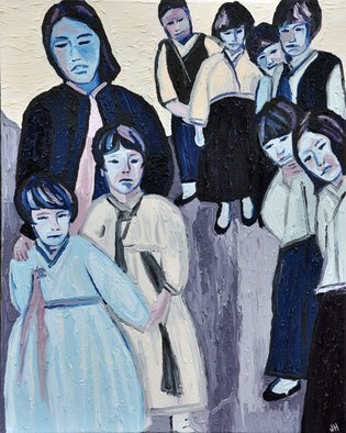 Jaime Hesper: 'South Korea, Through Jims Eyes', 2012 Oil Painting, Expressionism.  Korean school children,  portrait, snapshot, expressionist, bold, colorful, Asian, inspired by vintage photo, color, thick paint, heavy brushstrokes, history, photo taken by my grandfather during Korean War, blue, lavender prominent color, framed in wood that is stained black.       ...