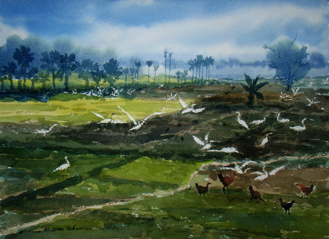 Jiaur Rahman  'Landscape', created in 2012, Original Watercolor.