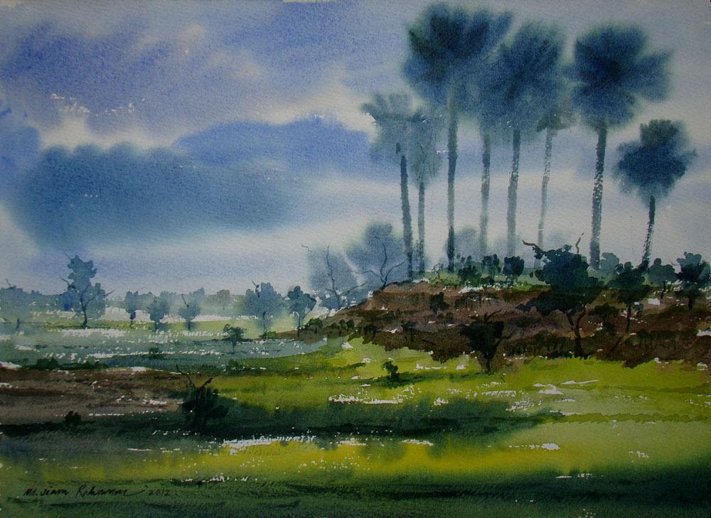 Jiaur Rahman Artwork: Landscape   Original Watercolor ...