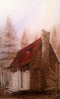 Don Bradford: 'Tennessee Cut 1906', 2002 Watercolor, Farm.            Tennessee birthplace of my Dad.  ...