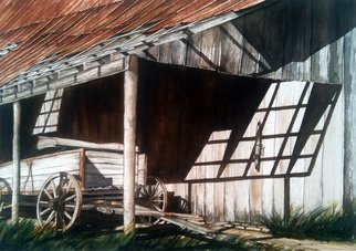 Don Bradford: 'Uncle Seifs Wagon', 2002 Watercolor, Farm.           Tennessee Barn of my uncle.  ...