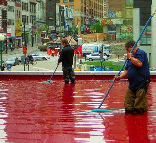 Jillian Dempsey: 'Blood Bath', 2008 Color Photograph, Travel.  Montreal fountain being cleaned.  Digital photograph. ...