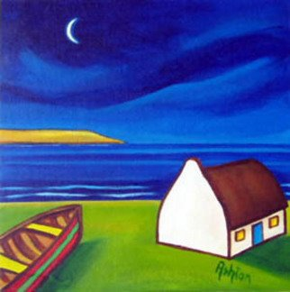 Jill Vance: 'Night Of New Moon', 2006 Acrylic Painting, Landscape. irish cottages by an Irish artist - ASHTON ...